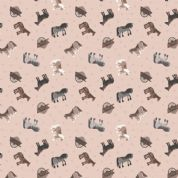 Lewis & Irene Small Things on The Farm - 5414 - Horses on Pale Pink - SM2.2 - Cotton Fabric